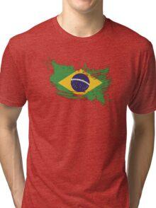 Brazil Flag Brush Splatter Tri-blend T-Shirt