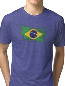 Brazil Flag Brush Splatter Tri-blend T-Shirt