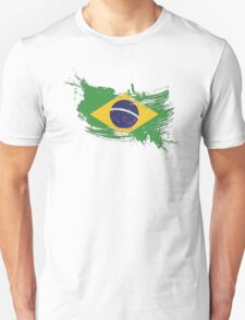 Brazil Flag Brush Splatter T-Shirt