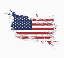 United States of America Flag Brush Splatter Kids Clothes