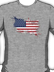United States of America Flag Brush Splatter T-Shirt