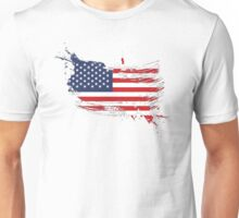 United States of America Flag Brush Splatter Unisex T-Shirt