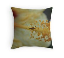 Little Bitty Bug on Hibiscus Throw Pillow