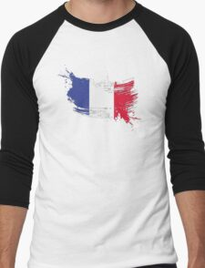 France Flag Brush Splatter Men's Baseball ¾ T-Shirt