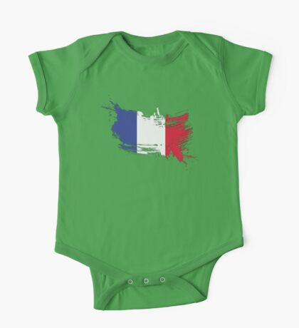 France Flag Brush Splatter One Piece - Short Sleeve