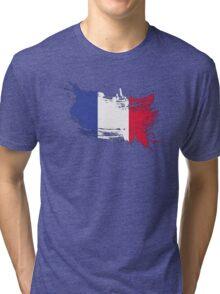 France Flag Brush Splatter Tri-blend T-Shirt