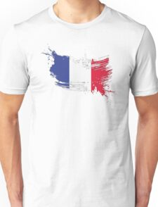 France Flag Brush Splatter Unisex T-Shirt