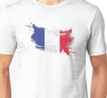 France Flag Brush Splatter Unisex T-Shirt