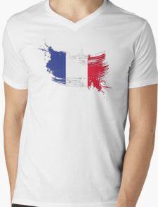 France Flag Brush Splatter Mens V-Neck T-Shirt