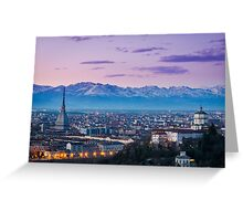Turin (Torino), twilight panorama Greeting Card