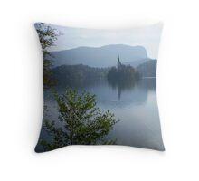 Church on an island on Lake Bled, Slovenia Throw Pillow
