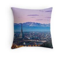 Turin (Torino), twilight panorama Throw Pillow