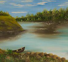 paisagem com barco by Leda Carniel Benin