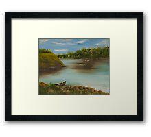 paisagem com barco Framed Print