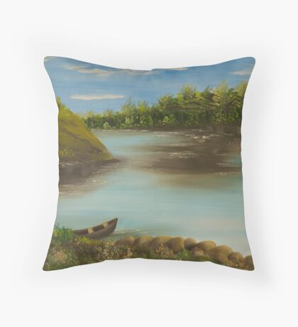 paisagem com barco Throw Pillow