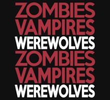 Zombies Vampires Werewolves Kids Clothes