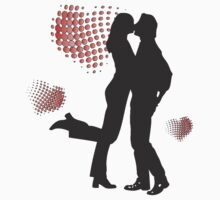 silhouettes of a kissing couple with hearts around them by JudyBJ