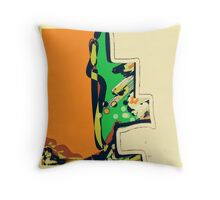 Abstract orange and green ART Throw Pillow