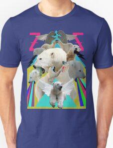 Flying Polar Bears Vomit Rainbows and Black Lightning Unisex T-Shirt