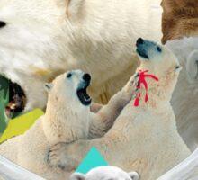 Flying Polar Bears Vomit Rainbows and Black Lightning Sticker