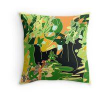 Multicolor abstract, jungle, garden Throw Pillow