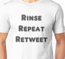 Iskybibblle Products Rinse Repeat Retweet Black Unisex T-Shirt