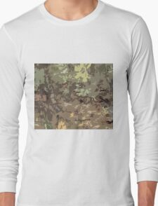 Woods Camo Brown and Green Camouflage Abstract Nature Pattern Design Long Sleeve T-Shirt