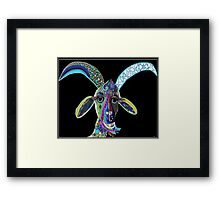 CRAZY GOAT on Black Background Framed Print