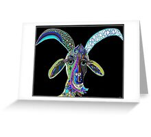 CRAZY GOAT on Black Background Greeting Card
