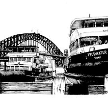 Sydney harbour bridge and ferries by enumerart
