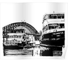 Sydney harbour bridge and ferries Poster