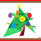 Abstract Christmas Tree - Christmas Card by Jana Gilmore