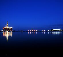 Oil Rig Nightscape by Rebecca McLean