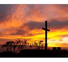 Father Serra Cross save the burning sky Photographic Print