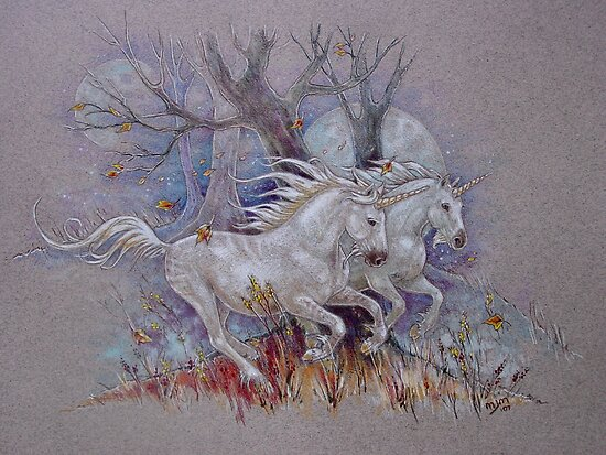Unicorns - Autumn Run by Michelle  McIntyre