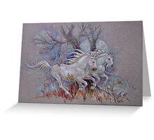 Unicorns - Autumn Run Greeting Card