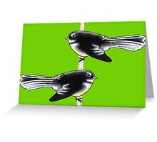 Piwakawaka Pair (on green) Greeting Card