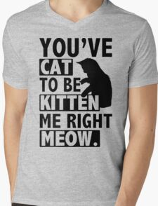New YOU'VE CAT TO BE KITTEN ME RIGHT MEOW FUNNY Mens V-Neck T-Shirt