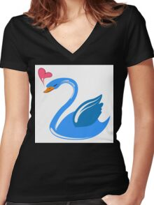Single cartoon swan in love Women's Fitted V-Neck T-Shirt