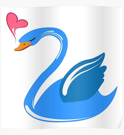 Single cartoon swan in love Poster