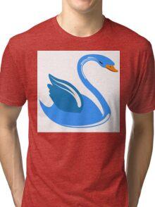 Single cartoon swan Tri-blend T-Shirt