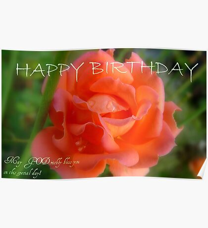 Happy Birthday - Rose Bloom - NZ Poster