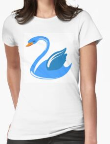 Single cartoon swan Womens Fitted T-Shirt