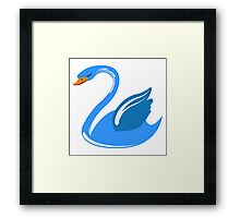 Single cartoon swan Framed Print