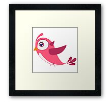 Adorable pink cartoon bird Framed Print