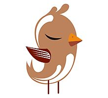 Cute brown cartoon bird Photographic Print