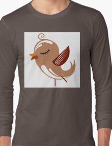 Cute brown cartoon bird Long Sleeve T-Shirt