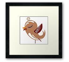 Cute brown cartoon bird Framed Print