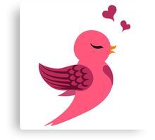 Single cartoon bird in love Canvas Print
