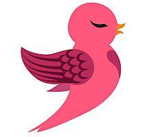 Single cartoon bird flying Photographic Print
